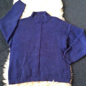 Gap chunky cable knit mock neck sweater blue sizeM
